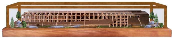 Back of the diorama shows Noah building the Ark